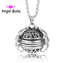 $enCountryForm.capitalKeyWord Canada - Angel Bola Wholesale 22mm Lucky Angel Wings Photo Album Box Eco-friendly Copper Cage Pendant Necklace for unisex