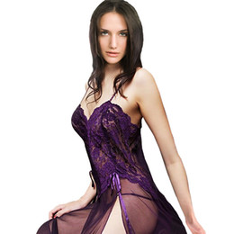 Les Chemises De Nuit Pas Cher-Vente en gros- Plus Size XXL S- 6XL Purple Black Blue Mesh Sheer Night Dressing Gown Sexy Long Nightgown Sleepwear Nightie Lingerie Grandes femmes
