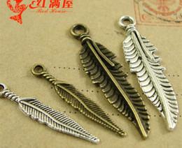 $enCountryForm.capitalKeyWord NZ - Cheap Zinc alloy plating ancient bronze retro tibetan Silver Feather Pendant DIY charms bulk metal jewelry accessories wholesale