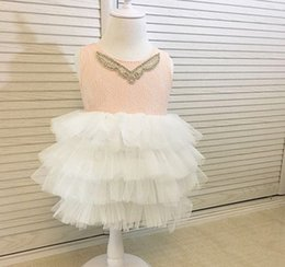 Barato Vestidos Elegantes Do Partido Dos Miúdos-Vestidos para meninas Lace Sequin Backless Princess Tutu Vestidos Summer Gauze Tiered Children Party Dress Elegant Kids Dress C1519