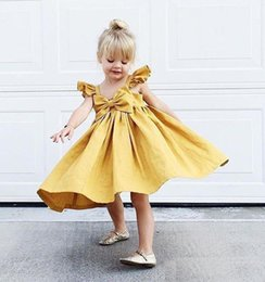 Arcos De Los Niños Baratos-Baby Girls Dresses Summer Bow Princess Dress 2018 Nueva Moda big Bows Vestido plisado para niños Toddler Party Sundress
