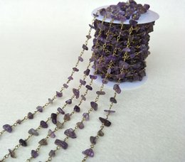 Crystal Chips NZ - amethyst Purple Crystal Chips stone Jewelry Finding Necklace Chains , Gold   Silver Color Chain DIY necklace bangle jewelry making LZ27