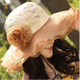 $enCountryForm.capitalKeyWord Canada - Fashion women summer beach hat Classic Outdoor Casual travel lace sun hats wide brim hat floppy caps Foldable flower decoration cap