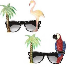 Hawaiian Party Dresses Canada - COCKTAIL Hawaiian Flamingo Parrot Glasses Sunglasses Tropical Beach BBQ Fancy Dress Hen Stage Party Props Novelty hot Summer Holiday eyewear