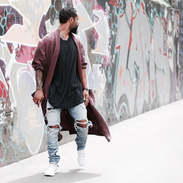 Kanye west represent Same jeans men light blue/black designer rock star destroyed ripped skinny distressed jeans for men