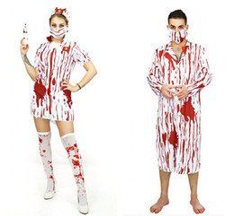 Nurse Clothes Free NZ - 2017 Adult Bloody Scary Cosplay Costumes Man Woman Halloween Cosplay Horror Nurse Dress and Doctor Clothes Suits LX3666
