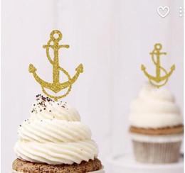$enCountryForm.capitalKeyWord NZ - Custom 30pcs Glitter Anchor Cupcake Toppers Food Picks Bachelor Bachelorette nautical Wedding Bridal Engagement Lingerie Party Decoration