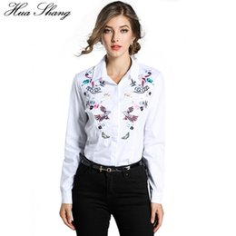 $enCountryForm.capitalKeyWord Canada - Hua Shang Autumn Women Long Sleeve White Shirt Elegant Embroidery Blouse Ladies Work Business Wear Office Shirt Women Clothing