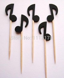 Barato Bebê Chuveiro Barato Favores Decorações-Custom barato Black Musical Note Party Picks - Cupcake Toppers - Toothpicks casamento bebê chuveiro aniversário favores festa Decoração Evento