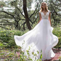 $enCountryForm.capitalKeyWord Australia - Limor Rosen Cap Sleeves Country Style Sexy V-neck Chiffon Wedding Dresses 2019 Beaded Crystals A-line Floor Length Backless Bridal Gowns