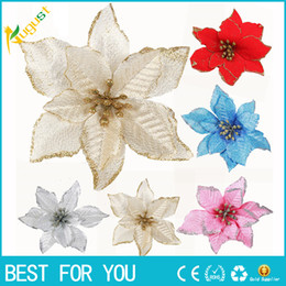 Calientes Adornos De La Boda Baratos-Nuevo caliente Glitter Hollow Wedding Party Decor Christmas Artificial Flower Xmas Adornos de árbol Suministros