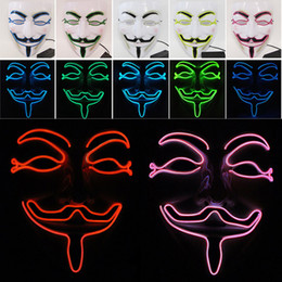 $enCountryForm.capitalKeyWord Canada - New LED Halloween Masks V Word Hatred Mask EL Wire Glowing Mask Masquerade Full Face Masks Halloween Costumes Party Gift WX9-58