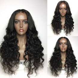 "indian beautiful long hair UK - Best Selling !!! 10""-26"" Inch Beautiful Natural wavy Indian Virgin Human Hair Full Lace Wig French Lace Best Quality"
