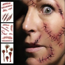 Zombie costume makeup online shopping - Halloween Zombie Scars Tattoos With Fake Scab Bloody Costume Makeup Halloween Decoration Terror Wound Scary Colors Sticker