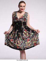 0e58536cdd6 2017 новый женский лето Boho Dress дамы Vestidos Largos Robe Femme печати  пляж Dress плюс размер 6XL 7XL чешский макси платья