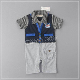 Barato Calções Azuis Dos Meninos-Varejo Summer New Baby Boys Rompers Gentleman Blue Plaid Infant One pieces Short Sleeve Jumpsuits Overalls Toddler Clothes 13281