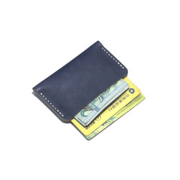 handmade leather coin purse wholesale NZ - Handmade Genuine Leather business wallet with customized logo environmental protection vegetable tanned first class leather card holders
