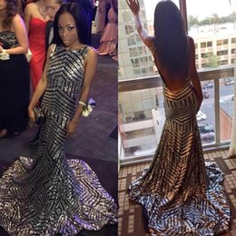 sparkle open back prom dresses 2019 - Sparkle Silver Black Sequined Prom Dresses Mermaid Sexy Open Back Sleeveless Sweep Train Black Girls Evening Party Gowns
