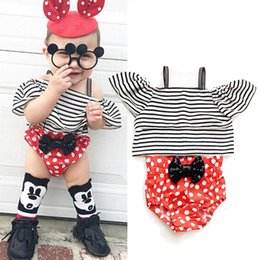 $enCountryForm.capitalKeyWord Australia - Lovely baby outfit off shoulder striped tops + dot red shorts 2Pcs suit sequins bowknot for Newborn girl summer boutique clothes ins 0-24M