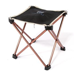 Aluminum Camp Chairs Canada - Wholesale- Portable Lightweight Folding Fishing Picnic BBQ Garden Chair 7075 Aluminum Alloy Square Outdoor Stool For Camping Hiking Fishing