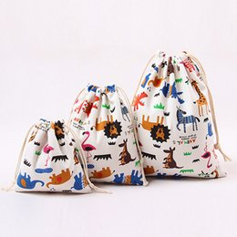 canvas jewelry NZ - Festival Gifts Sacks 2017 Hot Fashion Jewelry Packaging Animal Print Bag Drawstring Canvas Bags Wholesale Free Shipping