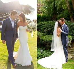 Robes De Mariée En Sirène Sweetheart D'été Pas Cher-2017 Elegant Summer Beach Garden Bohemian Country Sweetheart Lace Mermaid Robes de mariée Court Train Wedding Robes de mariée Boho