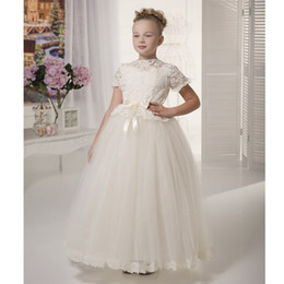 little bride wedding ball gowns images Australia - 2020 pretty whiteivory lace flower girls dresses with sleeves kids puffy prom dress tulle ball gown little bride dress