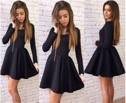Barato Feito À Medida 15 Vestidos-2017 Sexy Little Black Short Homecoming Vestido Vintage Manga comprida Juniors Sweet 15 Graduation Cocktail Party Dress Plus Size Custom Made