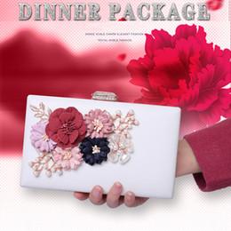 $enCountryForm.capitalKeyWord Canada - Fashion Lady Elegant Pearl Flower Evening Bags 3D Print Satin Clutch Banquet Purse Crystal Floral Handbags Chain Messenger Shoulder - GH9