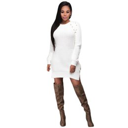 Pull Long Blanc Femme Pas Cher-Robes pour les femmes Robes courtes Casual Sweater Robes off White Knit Lace Up Side Long Sleeves Dress