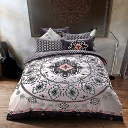 Discount queen sized bedding sets - Wholesale- Papa&Mima noble mandala style geometric bedlinens high quality sanding cotton fabric Queen King size duvet co