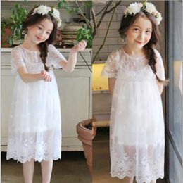 Barato Casamento Rosa Sundress-Summer Girl Lace Vestido de manga curta Kids Sundress Lace Vest Skirt Princess Wedding Prom Festa Pink / White Elegante vestido Toddler para Age 3-8