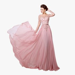 26e35539bd8 Luxury Beading Prom Dresses Blush Pink A-line Long Sleeve Chiffon Party  Dress Formal Event Dress Cocktail Evening Dresses