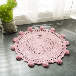 rugs baby room Canada - Wholesale New Crochet Round Rugs and Carpets for children room decoration Kids Baby Blanket Game Mat Pink 80cm Playmat