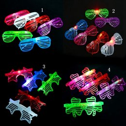 Wholesale Light LED Glasses Shutter Star Heart Shaped Bright Light Party Glasses Club Bar Performance Glow Party DJ Dance Eyeglasses OOA2480