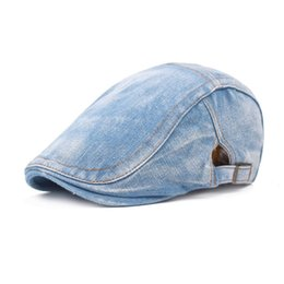 385d1eac4e1 Men Washed Cotton Denim Ivy Newsboy Cap Striped Flat Peaked Cabbie Driving  Hunting Golf Hat Free Shipping