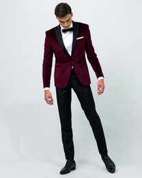 Plus Size Linen Suit Canada - 2018 Mens Suits Big Size Tuxedos Burgundy Custom Made Two Pieces Cheap Wedding Suits For Men Blazer New Arrival Mens Clothing Red Carpet