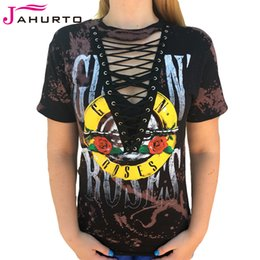 Camiseta Gráfica Al Por Mayor Baratos-Venta al por mayor Jahurto Guns N Roses Camisetas para mujeres Low Cut Hollow Out Lace Up Sexy Punk Rock Graphic Tees Mujer Negro Camiseta