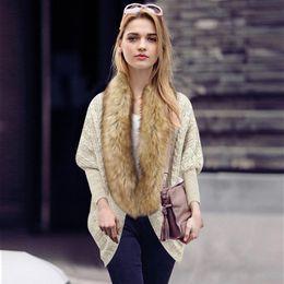 Bat Clothing Canada - Wholesale- 2016 Autumn and Winter New Large Size Women Bat Sleeve Knit Cardigan Sweater Coat Fur Collar Clothing