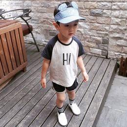 T Shirt Digital Printing Sport Australia - Summer Baby Clothes 2 Piece Set Top+Shorts Cotton Letter Digital Printing T-shirt Shorts Boys Girls Casual Sports Suit Kids Children Set 614