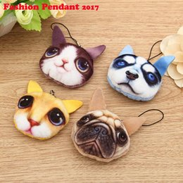 Cat Lover Keychains Canada - Original New Dog 3D Animal Printing Mini Bags pendant 3d cat animal keychains Women Animal Pattern Message Bags pendant 2017 New