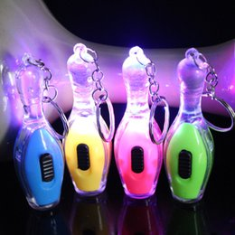UsefUl gifts online shopping - Novelty Commodity Key Chain Flashlights Bowling Glowing Keys Chains Creative Practical Gifts Colorful Useful Universal Popular js