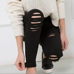 Barato Leggings Punk Branco-Atacado- Punk Rock Style Plus Size Stretch Sexy Leggings Mulheres Poliéster e Spandex Black White Ripped Leggings With Holes