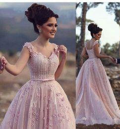 f261786638abdd Erröten Rosa A-line Abendkleider Schatz 3D Blumen Perlen Pageant Kleider  Abendkleid Elie Saab 2017 Plus Size Formal Abendkleid
