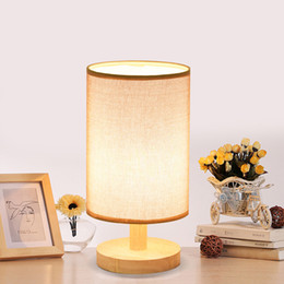 Vintage Table Light Wood Desk Lamp E27 Holder Retro Bedside Lamp With  Lampshade For Home Bedroom Night Light