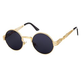 steampunk round designer sunglasses 2019 - Wholesale- Classic Sunglasses Men Steampunk Round Metal Frame Sun Glasses Mirror Women Coating Eyewear Brand Designer Hi