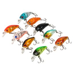 Lure Fishing Sea Bass Australia - 9pcs Plastic Set of Fishing Lures Bass China CrankBait Hard Crank Bait Deep Sea Fishing Trout Tackle Accessories 4.5cm 4g New