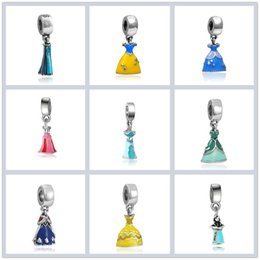 princess charms NZ - Mixed Tibetan silver European snow white dress charms, alloy enamel Fairy Princess beads, mix Cinderella pendant Bracelet dangles jewelry
