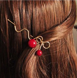 Girl hair accessories cherry online shopping - 1pcs Summer Fashion Women Girl Lovely Korean Red Cherry Shaped Bowknot Hairpin Twist Hair Clip Hairpin Barrette Hair Accessories