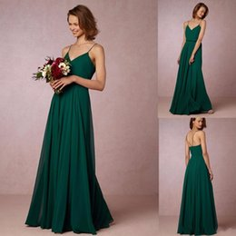 Robe À Courroie Spaghetti Pas Cher-Cheap 2017 Dark Green Flow Robes de demoiselle d'honneur en mousseline de soie Spaghetti Straps Bohême Maid Of Honor Robes Pour Pays